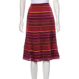 MAXMARA Printed Silk Multi-color Flair Skirt